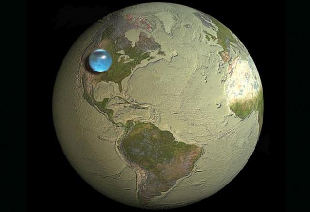 Водата на Земята спрямо нейния размер